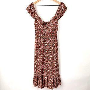 Allen B Floral Ruffled Cap Sleeve Dress
